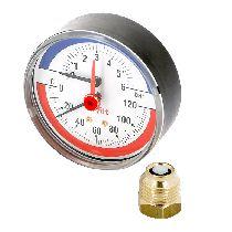 """Термоманометр аксиальный  10 бар, 120С, диаметр 80 мм, 1/2""""Н UNI-FITT 310P3442"""
