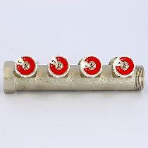Коллектор НВ 1' 4х3/4'EK Н 40мм никелированный с вентилями UNI-FITT 31108N060504