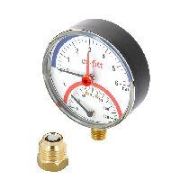 """Термоманометр радиальный  4 бар, 120С, диаметр 80 мм, 1/2""""Н UNI-FITT 311P1442"""