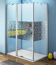 Душевой уголок Good Door FANTASY WTW-110-F-CH + SP-80-F-CH 110x80x185  стекло матовое с узором