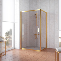 Душевой уголок Vegas Glass ZP+ZPV 140*100 09 05 профиль золото, стекло бронза