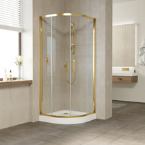 Душевой уголок Vegas Glass ZS 0080 09 01 профиль золото, стекло прозрачное