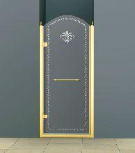 Душевая дверь Cezares RETRO-B-1-90-CP-G-L стекло прозрачное с узором, профиль золото