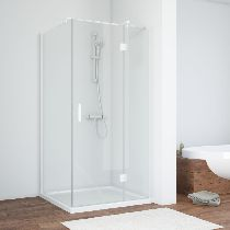 Душевой уголок Vegas Glass AFP-Fis 0110 01 01 L профиль белый, стекло прозрачное