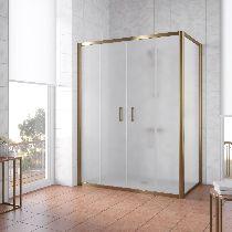 Душевой уголок Vegas Glass Z2P+ZPV 150*100 05 10 профиль бронза, стекло сатин