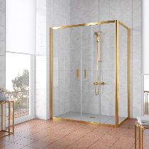 Душевой уголок Vegas Glass Z2P+ZPV 150*100 09 01 профиль золото, стекло прозрачное