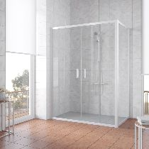 Душевой уголок Vegas Glass Z2P+ZPV 150*70 01 01 профиль белый, стекло прозрачное