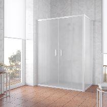 Душевой уголок Vegas Glass Z2P+ZPV 150*70 01 10 профиль белый, стекло сатин