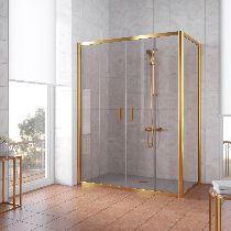 Душевой уголок Vegas Glass Z2P+ZPV 180*100 09 05 профиль золото, стекло бронза