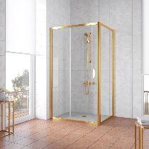 Душевой уголок Vegas Glass ZP+ZPV 100*100 09 01 профиль золото, стекло прозрачное