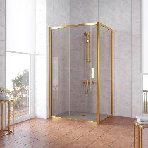 Душевой уголок Vegas Glass ZP+ZPV 100*100 09 05 профиль золото, стекло бронза