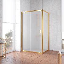 Душевой уголок Vegas Glass ZP+ZPV 130*80 09 10 профиль золото, стекло сатин