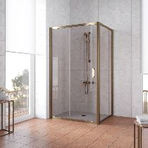Душевой уголок Vegas Glass ZP+ZPV 140*100 05 05 профиль бронза, стекло бронза