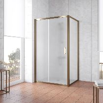 Душевой уголок Vegas Glass ZP+ZPV 140*100 05 10 профиль бронза, стекло сатин