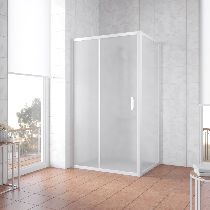 Душевой уголок Vegas Glass ZP+ZPV 140*90 01 10 профиль белый, стекло сатин