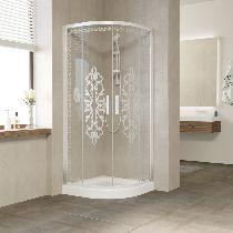 Душевой уголок Vegas Glass ZS-F 100*90 01 01 профиль белый, стекло Felicita1