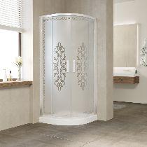 Душевой уголок Vegas Glass ZS-F 100*90 01 01 профиль белый, стекло Felicita2