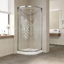 Душевой уголок Vegas Glass ZS-F 100*90 08 01 профиль глянцевый хром, стекло Felicita1