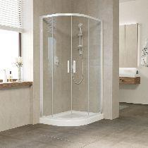 Душевой уголок Vegas Glass ZS-F 100*80 01 01 профиль белый, стекло прозрачное