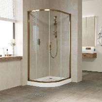 Душевой уголок Vegas Glass ZS-F 100*80 05 01 профиль бронза, стекло прозрачное