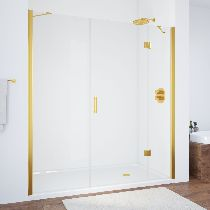 Душевая дверь Vegas-Glass AFP-F 150 09 01 R профиль золото стекло прозрачное