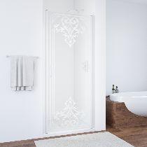 Душевая дверь Vegas-Glass EP 0075 01 ARTDECO D2 профиль белый стекло рисунок матовый стекло прозрачное