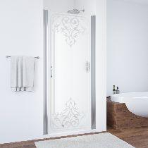 Душевая дверь Vegas-Glass EP 0075 08 ARTDECO D1 профиль хром стекло рисунок прозрачный стекло матовое