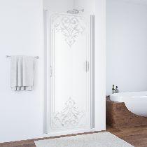 Душевая дверь Vegas-Glass EP 0075 07 ARTDECO D1 профиль матовый хром стекло рисунок прозрачный стекло матовое