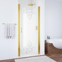 Душевая дверь Vegas-Glass EP 0075 09 ARTDECO D1 профиль золото стекло рисунок прозрачный стекло матовое