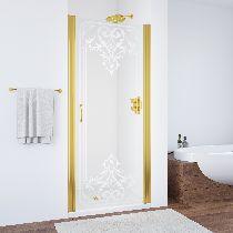Душевая дверь Vegas-Glass EP 0075 09 ARTDECO D2 профиль золото стекло рисунок матовый стекло прозрачное