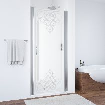 Душевая дверь Vegas-Glass EP 0085 08 ARTDECO D1 профиль хром стекло рисунок прозрачный стекло матовое