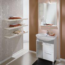 Комплект мебели Акватон Альтаир 65 левая бело-алюминиевая