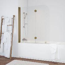 Шторка на ванну Vegas-Glass  E2V 120 05 R05 R стекло флёр-де-лис, профиль бронза