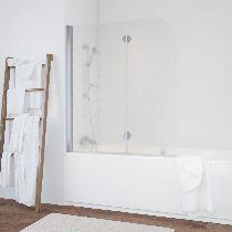 Шторка на ванну Vegas-Glass  E2V 120 08 R05 L стекло флёр-де-лис, профиль хром