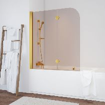 Шторка на ванну Vegas-Glass  E2V 120 09 05 R стекло бронза, профиль золото