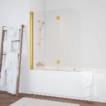 Шторка на ванну Vegas-Glass  E2V 120 09 R04 L стекло ретро, профиль золото
