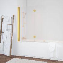Шторка на ванну Vegas-Glass  E2V 120 09 10 L стекло сатин, профиль золото