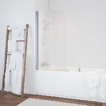 Шторка на ванну Vegas-Glass  EV 76 08 02 L стекло шиншилла, профиль хром