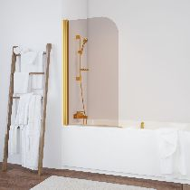 Шторка на ванну Vegas-Glass  EV 76 09 05  стекло бронза, профиль золото