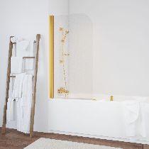 Шторка на ванну Vegas-Glass  EV 76 09 R03 L стекло фея, профиль золото