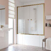 Шторка на ванну Vegas-Glass Z2V 160 05 02  стекло шиншилла, профиль бронза