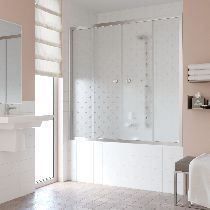 Шторка на ванну Vegas-Glass Z2V 180 08 R05  стекло флёр-де-лис, профиль хром
