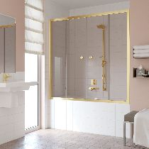 Шторка на ванну Vegas-Glass Z2V 160 09 05  стекло бронза, профиль золото