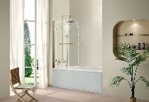Шторка для ванны Cezares RETRO-A-V-1-80/145-CP-G-L прозрачное с узором профиль золото