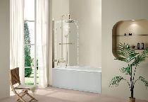 Шторка для ванны Cezares RETRO-A-V-1-80/145-CP-G-R прозрачное с узором профиль золото