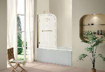 Шторка для ванны Cezares RETRO-A-V-1-80/145-PP-G-R матовое с узором профиль золото