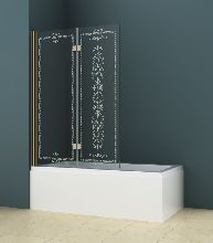 Шторка для ванны Cezares ROYAL PALACE-A-V-21-120/145-CP-Cr прозрачное с узором