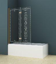 Шторка для ванны Cezares ROYAL PALACE-A-V-21-120/145-CP-G прозрачное с узором профиль золото