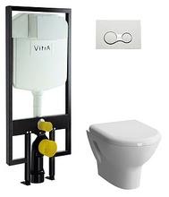Комплект подвесного унитаза Vitra Zentrum 9012B003-7205 со стандартным сиденьем, инсталляцией и панелью управления