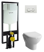 Комплект подвесного унитаза Vitra Zentrum 9012B003-7206 с сиденьем микролифт, инсталляцией и панелью управления